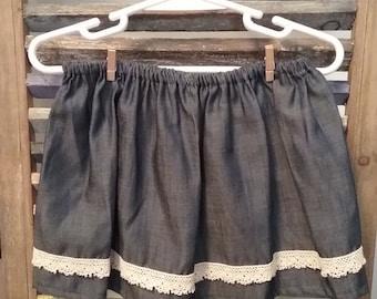 Baby Denim skirt, baby clothing, Girls denim and lace skirt, Baby skirt, Size 18 months skirt, #39