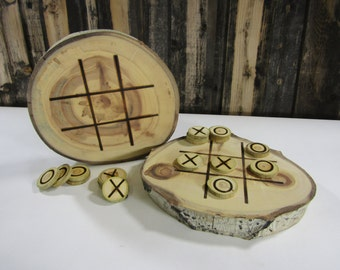 Rustic Tic-Tac-Toe Board ~ Wood Slice Tic-Tac-Toe Game ~ Tic Tac Toe ~ Aspen Slice Coffee Table Game ~ Crosses and Noughts ~