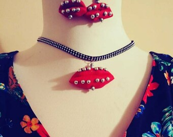 New polymer lip art stud necklace with earrings set