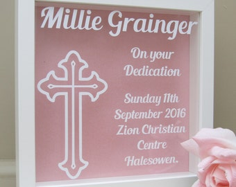 Personalised Dedication Box Frame with Cross design