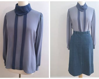 Vintage BLUE HIGH NECK Blouse / size Small-Medium