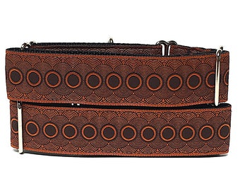 Martingale Dog Collar or Tag Collar Rust orange RUST PORTHOLE, Safety Collar, Greyhound Collar, Sighthound Collar, Adjustable, Training
