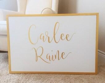 Large Nursery Sign | Nursery Decor | Hand-Painted Sign | Girl Nursery | Gold Nursery Decor | Calligraphy Sign | Custom Name Sign