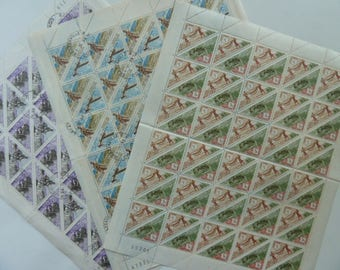 African Stamps - Three Full Sheets of Stamps - For Collections, Decoupage, Paper Crafts, Collage and More...