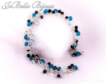 Cool Blue Gemstone Charm Bracelet