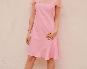 Pink Shift Cocktail Dress, Romantic Bridesmaid Dress, Flutter Sleeve Dress, 60s Style Formal Dress, Illusion Neckline Dress, Made to Order