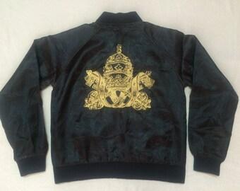 Vintage Gold Sewn Embroided Key Cross Varsity Souvenir Satin Bomber Jacket