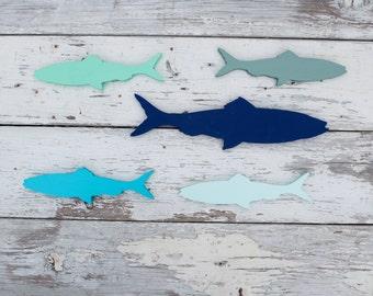 Set of 5 Wood Fish Wall Hanging, Wall Art, Coastal Decor, Beach House Decor, Boys bedroom decor, Nautical Wall Decor