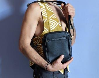 Little man, genuine black leather adjustable strap shoulder bag