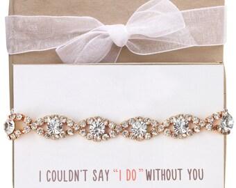Bridesmaid Gift Bridesmaid Proposal Bridesmaid Bracelet Rose Gold Bridal Party Gift Crystal Bridesmaid Bracelet Wedding Bracelet B129-RG2