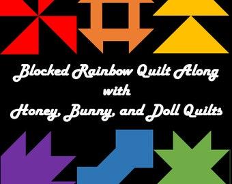 Blocked Rainbow QAL Throw Kona Yardage