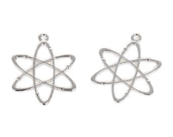 Choice of Silver or Gold Tone Atom Pendants (2pcs) 33 x 26mm (B518A/B)