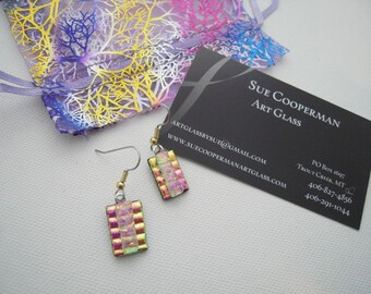 Pink and Gold drop earrings - Fused Glass Earrings - Dichroic Glass -  Fused Glass Jewelry-  Boho tack fused - OOAK