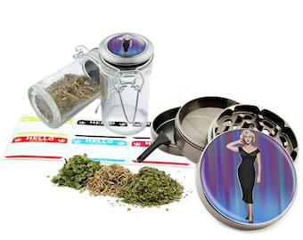 "Marilyn Monroe - 2.5"" Zinc Alloy Grinder & 75ml Locking Top Glass Jar Combo Gift Set Item # 50G012516-16"