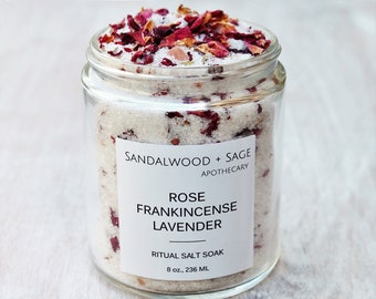 Rose + Frankincense + Lavender Ritual Salt Soak // Ritual Bath Soak // Ritual Bath Salts // Botanical bath salt