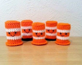 Crochet Safety Barrel, Construction Toys, Boy Party Favor, Amigurumi Kids Toy, Set of 5