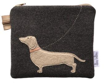 Dachshund Purse,coin purse,pouch,dog purse,felt purse