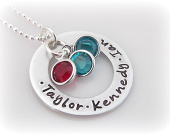 Personalized Washer Necklace Custom Names and Birthstones Multiple Names Mommy Jewelry Mom of 3 Hand Stamped Sterling Silver