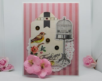 Striped Bird with Birdcage Thank You Card