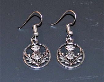 Scottish Thistle Silver Plated Earrings