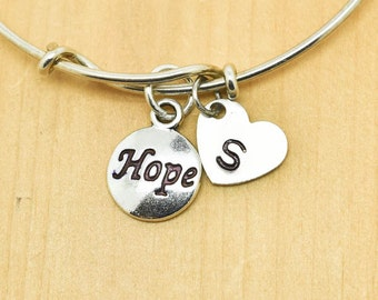 Hope Bangle, Sterling Silver Bangle, Hope Bracelet, Bridesmaid Gift, Personalized Bracelet, Charm Bangle, Monogram, Initial Bracelet