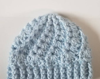 Blue Crochet Baby Hat