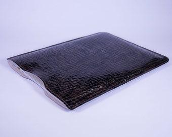 "Macbook Air Premium Leather and Suede Laptop Sleeve Case 11"" 12"" 13"" - DORNEY Brown Patent Croc Print"