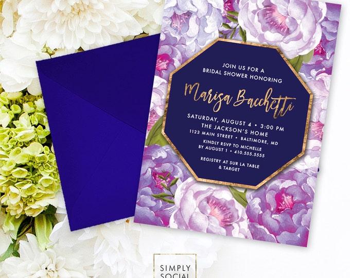 Purple Floral Bridal Shower Invitation - Purple Navy Peony Ranunculus Faux Gold Foil Watercolor Floral Geometric Invitation Printable
