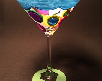 light blue martini glass with colorful dots by detroit glass company
