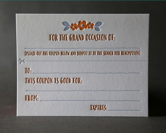 Coupon Cut-out All-Occasion Card