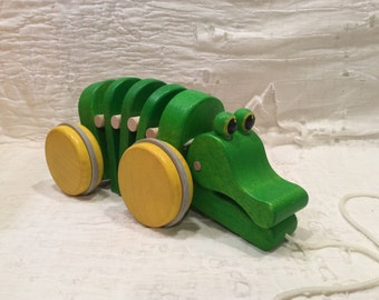 Adorable vintage wooden alligator pull toy, child toy, nursery, toddler