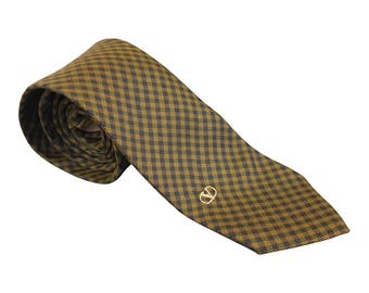 VALENTINO Vintage Silk Checked Yellow Blue Tie