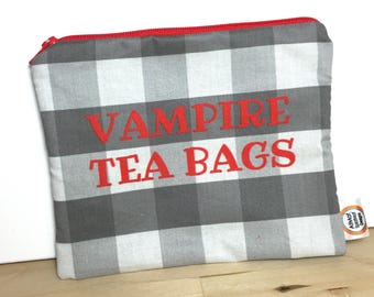 Vampire Tea Bags Zippered Pouch Zipper Bag Feminine Hygiene Tampons Pads