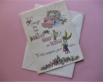 Lightly Glittered New Baby Girl Card, Vintage, Unused