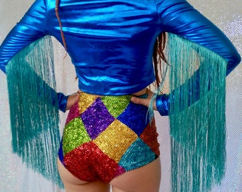 Rainbow sequin harlequin high waisted hotpants - fairylove