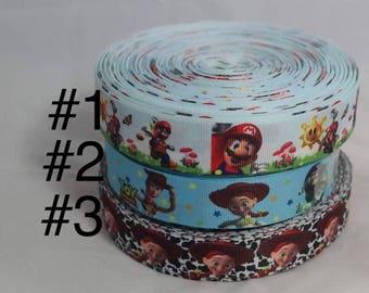 Mario Bros & Toys Story Grograin ribbon
