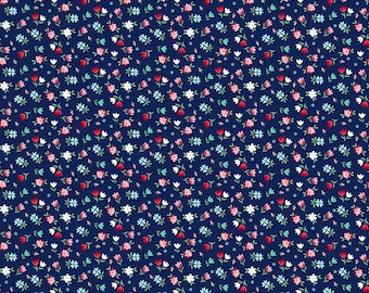 SALE A Little Sweetness Floral Navy - Riley Blake Designs - Blue Flowers - Quilting Cotton Fabric - choose your cut