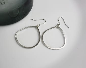 Drop-silver-plated earrings pendant minimal geometric simple round hoops