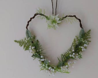 Bridesmaid hanging Heart shape Wreath Rustic woodland wedding. Church pew ends.  Ferns Gypsophila foliage. Flower girl.