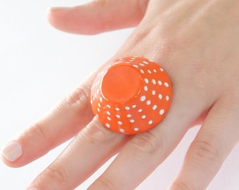 Polka Dot Ceramic Statement Ring -  big ring, bold handmade adjustable ring, statement cocktail ring - 1.4 inch