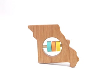 Missouri State Rattle™ - Modern Wooden Baby Toy - Organic and Natural