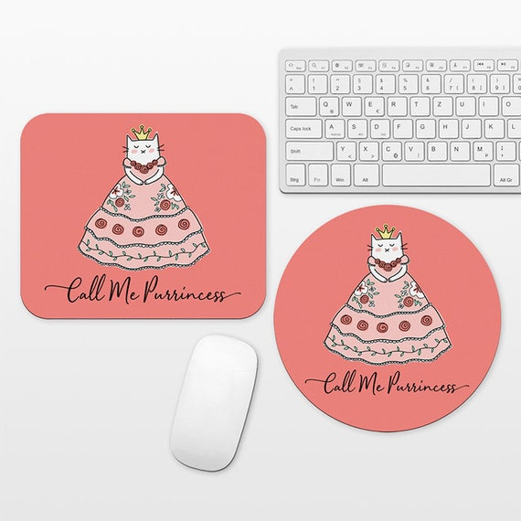 Cat Princess Mouse Pad, Princess Mousepad, Coral Pink Mouse Pad Funny Cute Mouse Mat for Kid Girl, Cubicle Decor Desk Office Decor for Women