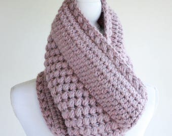 Womens Cowl Pattern / Crochet Scarf Pattern / Crochet Pattern by Hidden Meadow Crochet - Gathered Buds Cowl P131