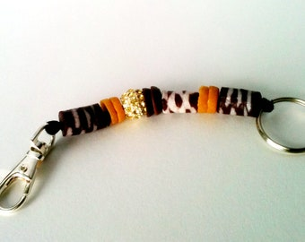 Earth Tones and Sparkle African Keychain Hang