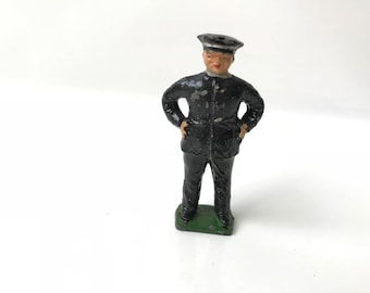Vintage Lead Toy Soldier Civilian Male Police Officer