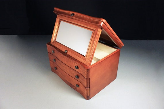 Mele Wood Jewelry Box, Two Pull Drawers, Ivory Lined Compartments, Standing Mirror, Hardwood, Walnut Finish