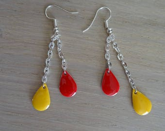 Earrings drops with red and yellow