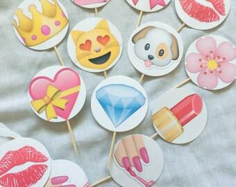 Girls Rule! 24-Pack Assorted Emoji Cupcake Toppers