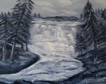 Mountain Waterfall an Original Oil on canvas 24x18x1 in Black and White