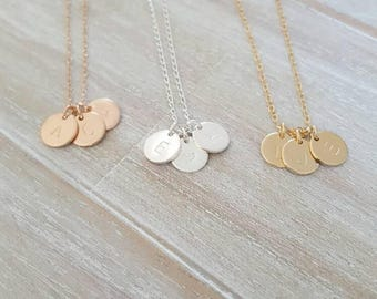 Triple initial charm necklace | customised family necklace | personalised jewellery | charms twins triplets | custom engraved jewellery